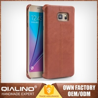 QIALINO Classic Case For Samsung Note 5 Top Head Leather Customizable Stitching
