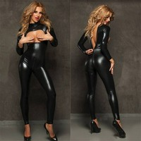 Latex Bondage Catsuit Catwomen Erotic Sex Suit Bust Open Leather Bodysuit Full Body Suit Women's Jumpsuits Lingerie Fishnet