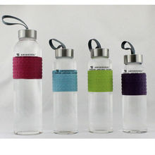 Hot Sales Glass Water Bottle With Hand-ring