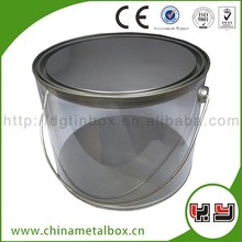 2015 Fashion Accept Custom Order Metal Round Tin Can With Clear Window