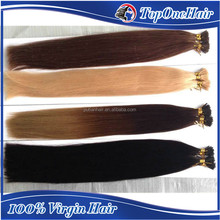 wholesale price 7A Brazilian remy hair silky straight wave blond/red//#60/ombre2T color pre tip hair for full head