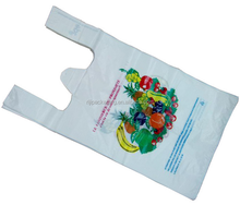 eco customed color printing vest carry bags for take out