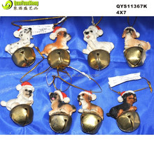 Newest polyresin christmas dog with bell for christmas gift &hanging craft