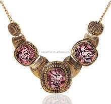 India Leopard fashion bib statement necklace