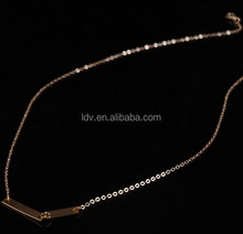 Chevron Bar Chain Necklace Gold Filled Link Delicate Rolo Women Fashion Jewelry