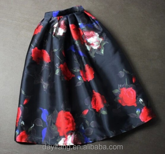 Women black skirt with red roses printed design maxi for Buy black and blue roses