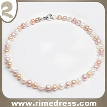 9 -10mm Perfectly Round with Superb Luster Freshwater Pearl 17'' 3 Colors Necklace with Silver Clasp-N0401