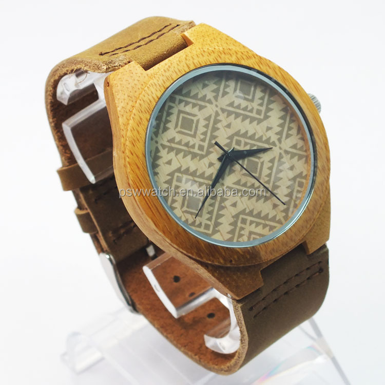 latest genuine leather band wooden watch cheap wood watch face bamboo wrist watch