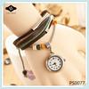 PS0077 Watch Head Pendant Bracelet Unique Wrapped Women wood watch leather