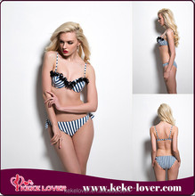 T6572 New arrival and hot sale low waist black nylon lace swimwear blue and white stripe bikini sets on sale summer women beach