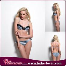 T6572 New arrival hot sale low waist black nylon lace swimwear blue and white stripe bikini sets on sale summer women beach