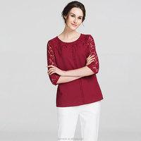 Latest design lady blouse elegant chiffon blouse