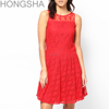 Red Prom Dress Lace Dress Designs Latest Fashion Dinner Dress HSD1400