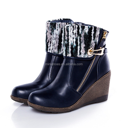 durable winter high heel boots shoes with colorful fabric