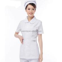 Wholesale made in China summer custom short sleeve white uniform nurse