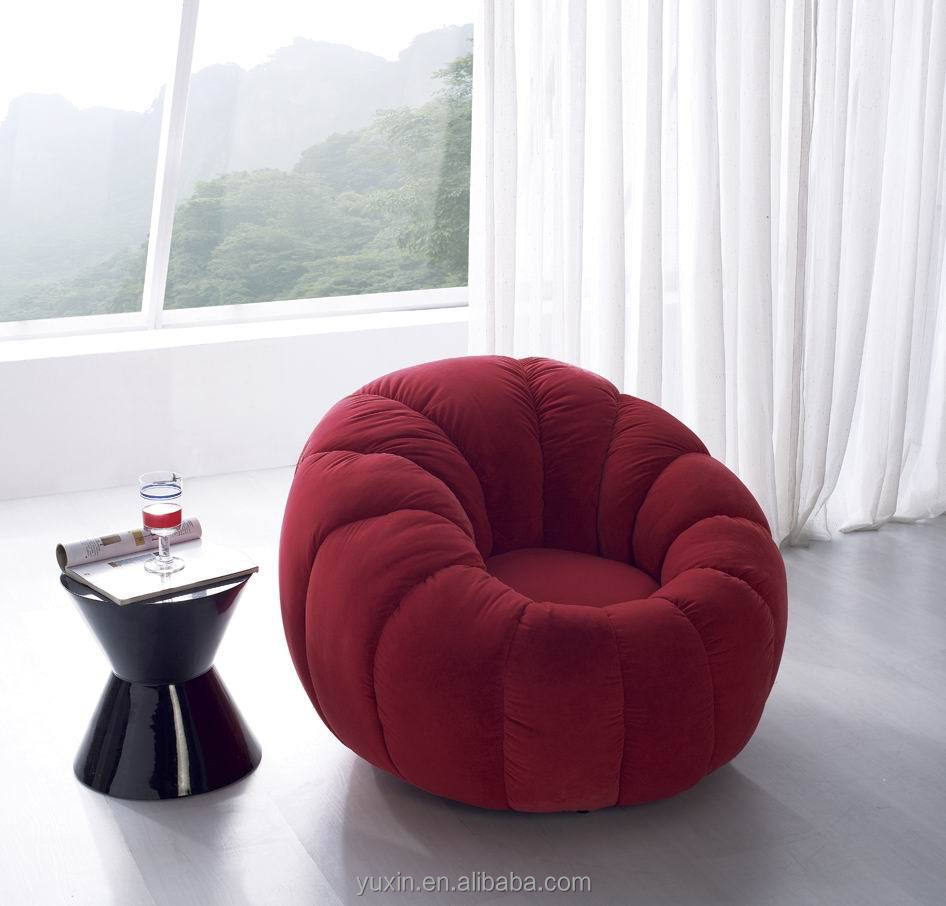 Luxury Velvet Single Wooden Sofa Chair Round Mini Sofa