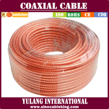low loss 75ohm RG6 coaxial cable transparent with 1.02CCS/4.57FPE/PVC Jacket TC braiding for CCTV CATV satellite system/CE RoHS