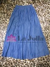 2015 Ladies Fashion Folds Casual Long Denim Skirt LK-008