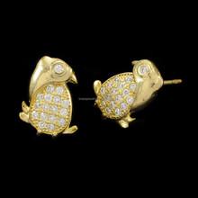 Cute Lovely Bird Shape Design Brass Zircon Stud Earrings For Teens