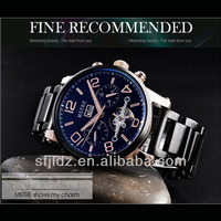 Mechanical fashion business men's water resistant skeleton watch