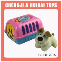 2015 mini carton plush pet house lifelike plush dog