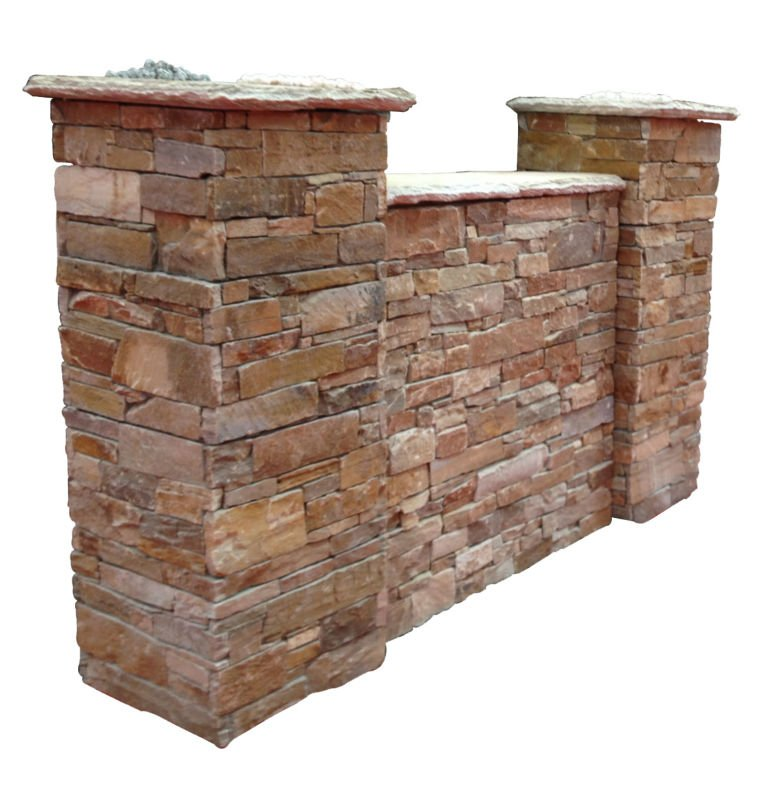 Natural Stone Pillars : Beige natural stone cement pillar in fence view