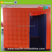 Orange top 2.4x2.4x2.5m cube inflatable photo booth tent price for sale
