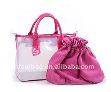 Multi-functional Clear PVC beach bag two piece one set fit for woomen
