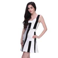 wholesale unique design celebrity black and white bandage dress for lady