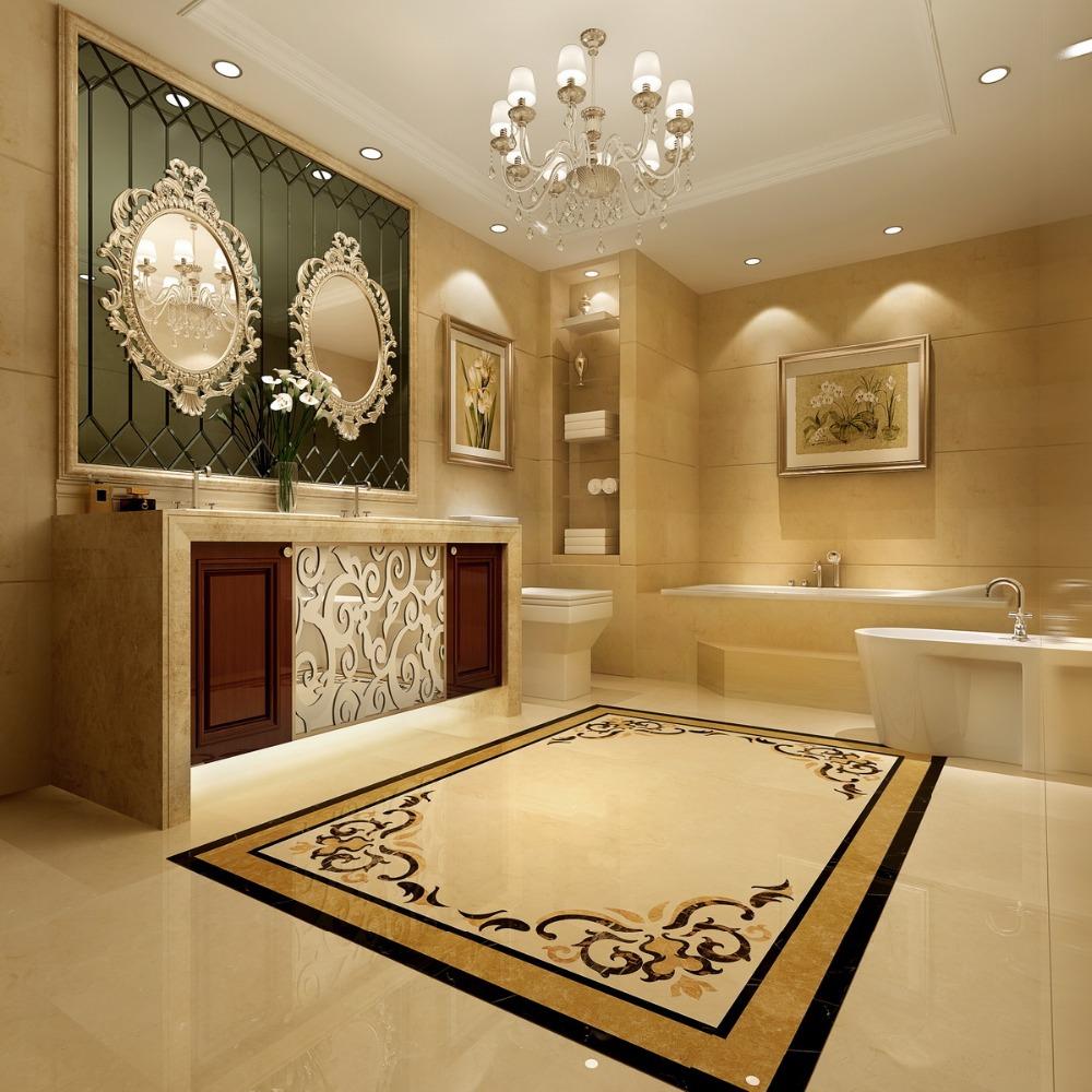 Turkey Yarisli Burder Beige Marble Floor Medallions Water
