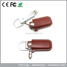 Custom logo usb flash drive gift with key ring and fashionable leather bag