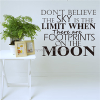 ZOOYOO steps on the moon sky wall art stickers good black style wall decors new popular vinyl decoration (8247)