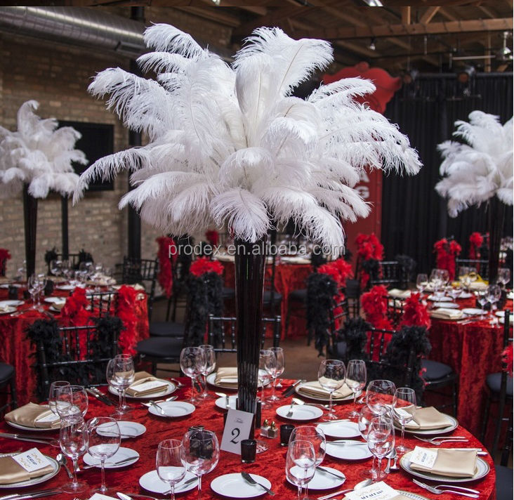 Black and white ostrich feather centerpiece for wedding