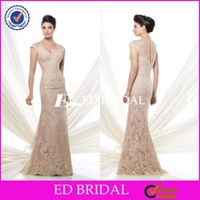 Elegant Cap Sleeve See Through Back Sheath Champagne Mother Of The Bride Lace Dresses