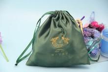 China Supplier Alibaba Logo Printing Gift Drawstring Hair Satin Bag