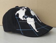 PU fabric printed earth on front baseball beret cap fashion cap
