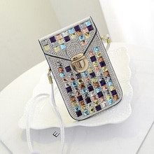 china supplier fancy crystal cell phone shoulder bag