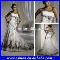 WE-1884 New model black and white wedding dresses 2012 white black lace wedding dress