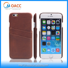 Brown genuine real leather case for iphone 6,back cover case for iphone 6 with credit card slots