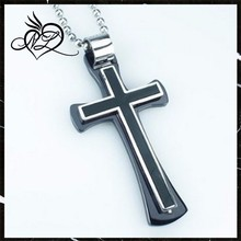 Fashion Punk Rock Mens 316L Silver Stainless Steel Polished Ball Chain Black Cross Necklaces Pendants