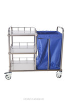 High quality pure stainless steel dirty clothes bag trolley B33 with CE/ ISO