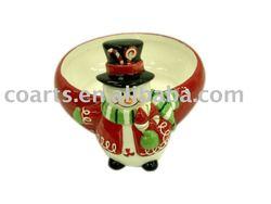 christmas snowman ceramic candy jar