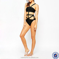 2014 sexy one piece swimwear, hot hot sexi photo girls shiny black bandage swimsuit