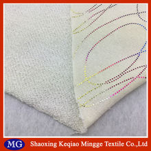 polyester and cotton kintting gold stamp terry cloth fabric wholesale