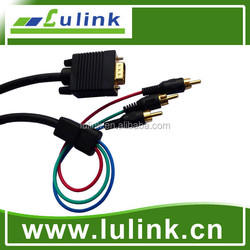 high quality vga to 3rca splitter cable, video and audio cable