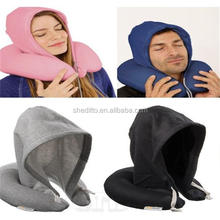 Company logo branded airplane u shaped neck support hooded travel pillow