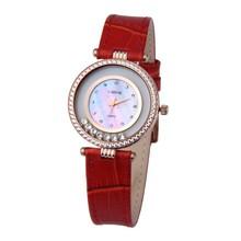 Customized japan movt lady leather quartz watch