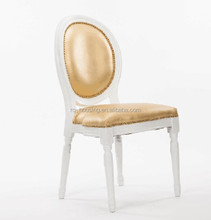 Gold wedding event stackable leather dining chair