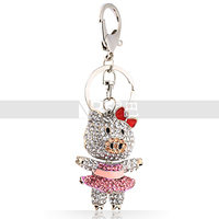 Women Girls Bowknot Dancing Sister Pig Wonderful Crystal Keychain