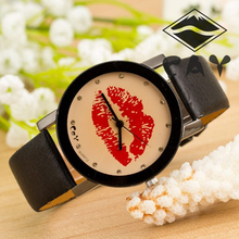 wholesale factory price girls and students hot selling wholesale plastic Pu band couple big clip printing unisex watch